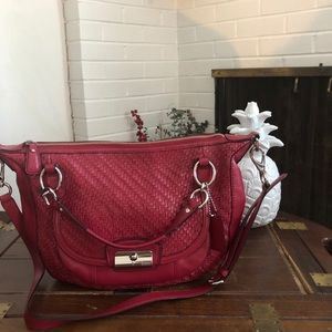 Big and Bold! Red Coach Kristin woven satchel